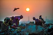 Sunset at garbage dump
