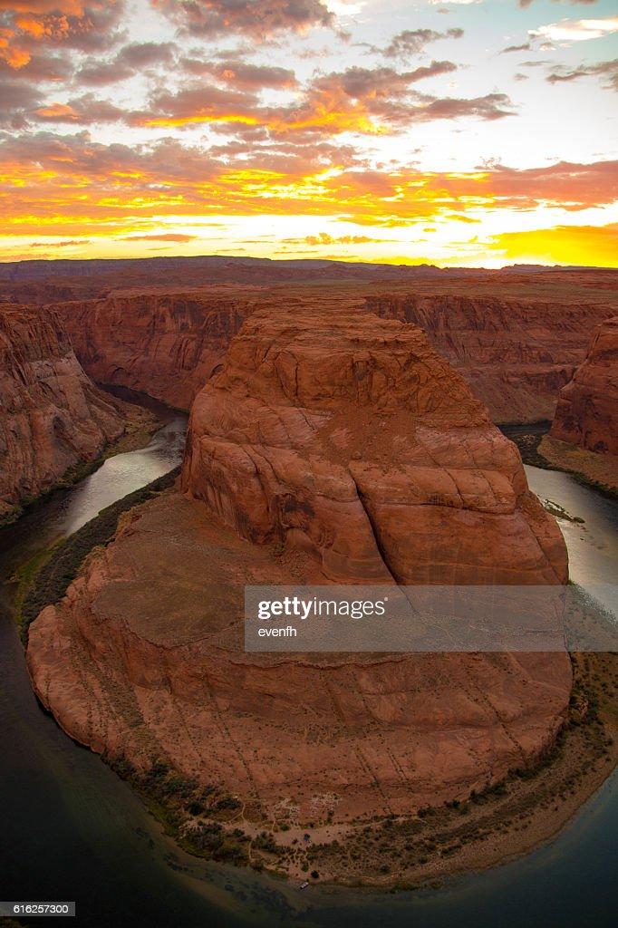 Sunset at Horseshoe Bend, Arizona : Stock Photo