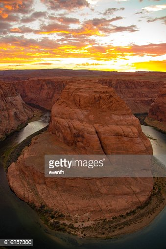 Sunset at Horseshoe Bend, Arizona : Stock Photo