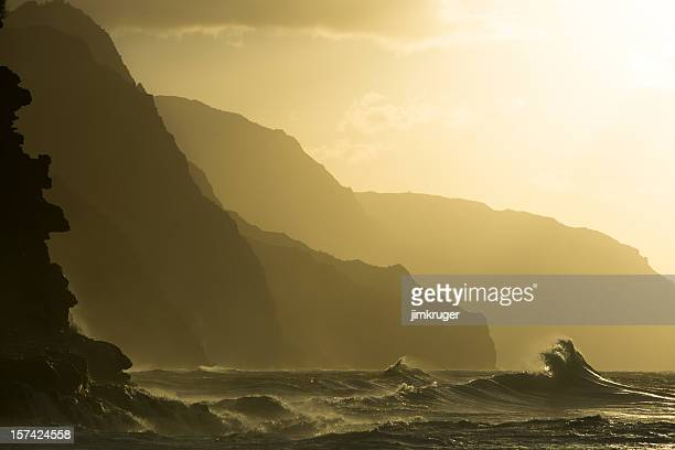 Sunset at Kee beach, Hawaii with mountains in background