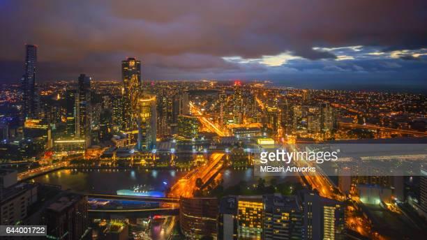 Sunset at Melbourne city skyline