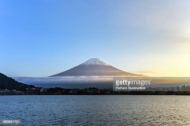 Sunset at mount Fuji and lake Kawaguchiko