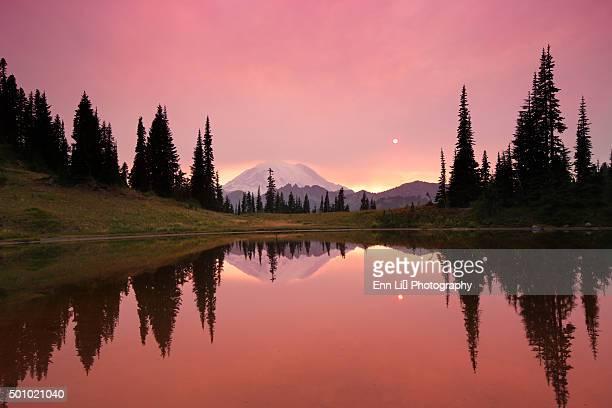 Sunset at Mt. Rainier mirrored in Tipsoo Lake