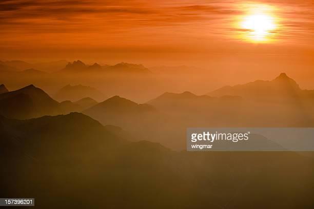 Sonnenuntergang in mt. zugspitz