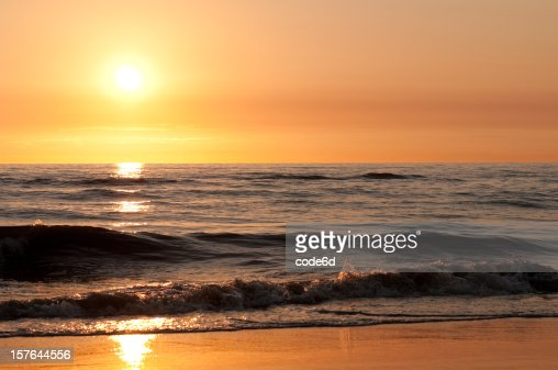 Sunset at north sea beach copy space stock photo getty images - Sunset small spaces collection ...