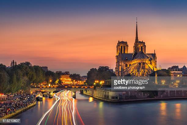 Sunset at Notre dame on Seine river