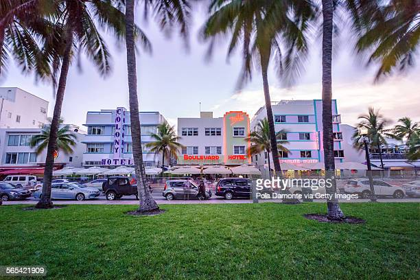 Sunset at Ocean drive, South Beach, Miami,