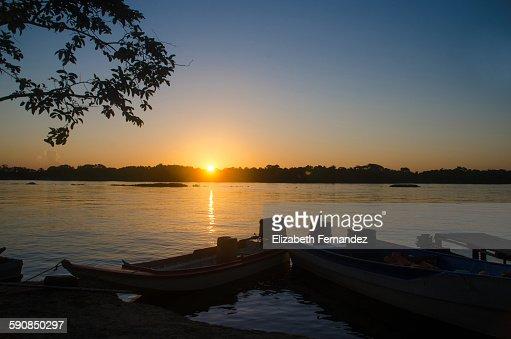 Sunset at Orinoco Delta : Stock Photo