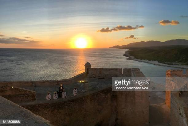Sunset at Saint Peter of the Rock fortress 'San Pedro de la Roca' Spanish fort is a Unesco World Heritage Site in Santiago de Cuba and a major...