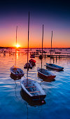 Beatiful rich colourful scene as the sun sets in Poole Harbour around the Sanbanks peninsula