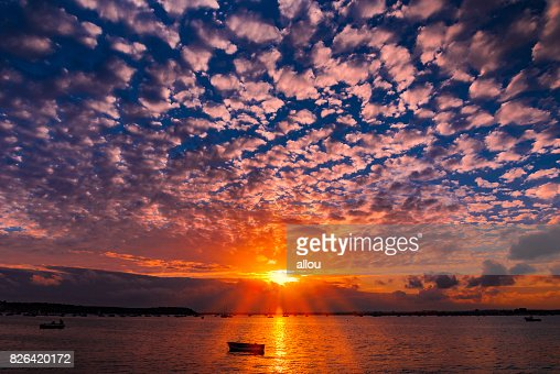 Sunset at Sandbanks in Dorset : Stock Photo