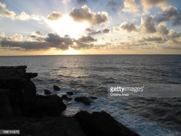 Sunset at sea in La Pared Fuerteventura Canary Islands Spain september 2010