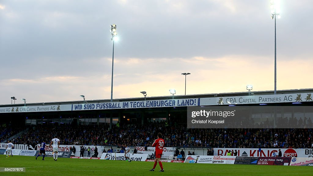 Sunset at Sportpark am Lotter Kreuz during the Third League play-off first leg match between SF Lotte and Waldhof Mannheim at Sportpark am Lotter Kreuz on May 25, 2016 in Lotte, Germany.