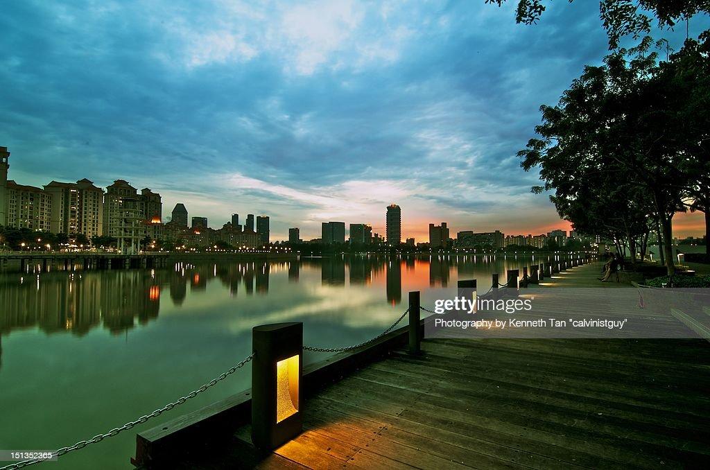 Sunset at stadium waterfront : Stock Photo