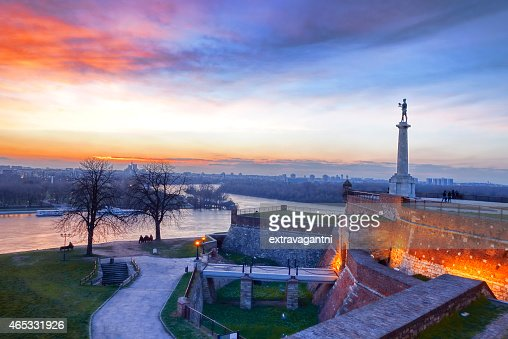 Sunset at Statue of Victory in Belgrade, Serbia : Stock Photo
