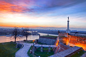View of  monument  against sunset in  Belgrade, capital city of Serbia