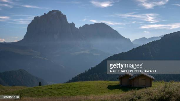 Sunset at susolungo peak , european alpine alps dolomites Italy