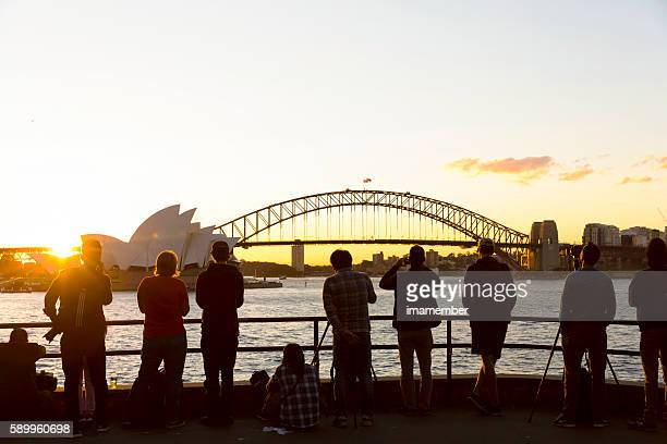 Sunset at Sydney Hrabour with Opera House and Harbour Bridge