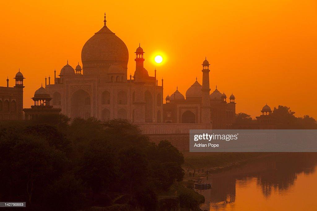 Sunset at Taj Mahal : Stock Photo