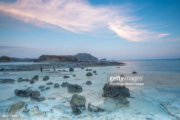 LOMBOK, INDONESIA - 2016, SEPTEMBER 16 : Sunset at Tanjung Aan, Lombok, Indonesia