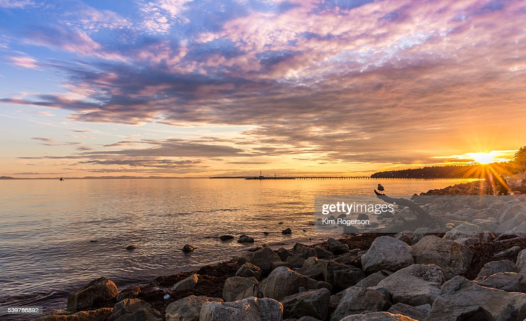 Sunset at the beach of White Rock, BC, Canada
