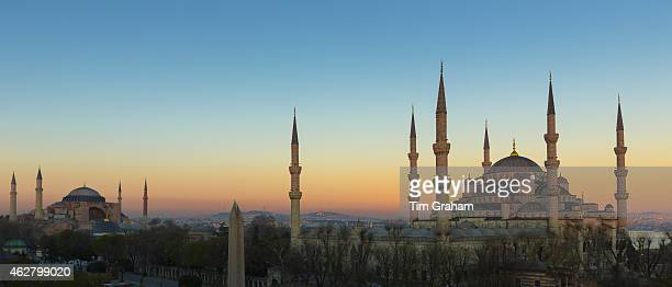 Sunset at The Blue Mosque Sultanahmet Camii or Sultan Ahmed and Hagia Sophia mosque museum in Istanbul Turkey