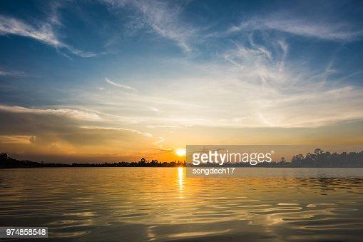 Sunset at the lake landscape : Stock Photo