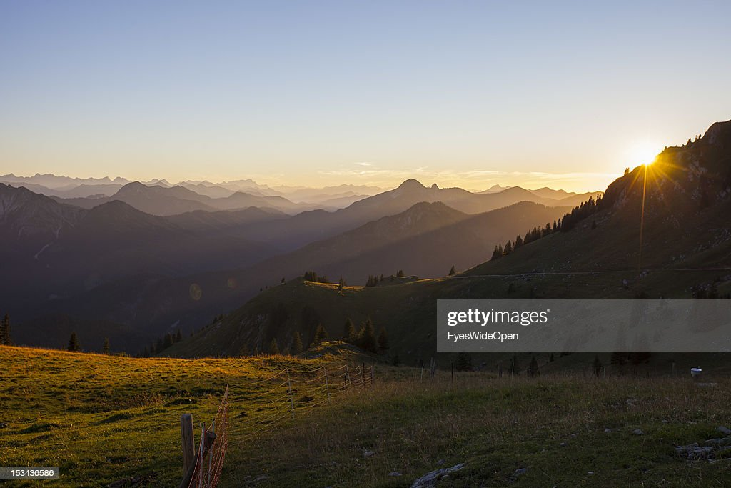 Sunset at the mountain of Rotwand with a panoramic view of the so called Blue Bavarian Alps on August 29, 2012 in Spitzingsee, Bavaria, Germany.