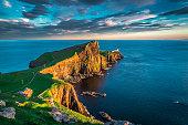 Sunset at the Neist point lighthouse, Scotland