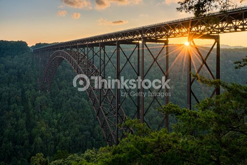 Sunset at the New River Gorge Bridge in West Virginia : Stock Photo