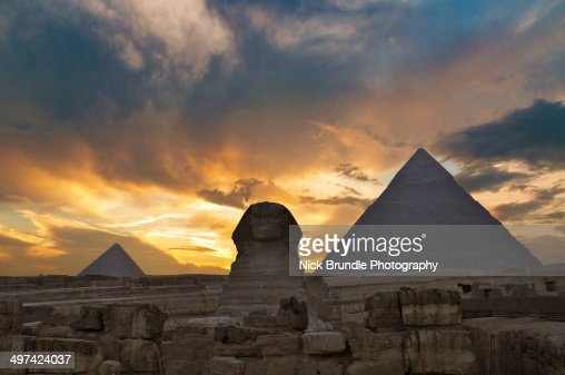 Sunset at the Pyramids and Sphinx, Giza, Egypt.