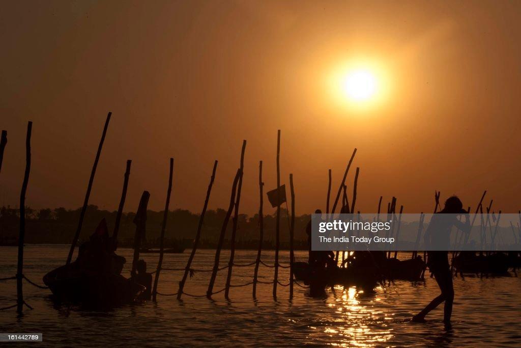 Sunset at the Sangam during the Kumbh Mela, Allahabad.