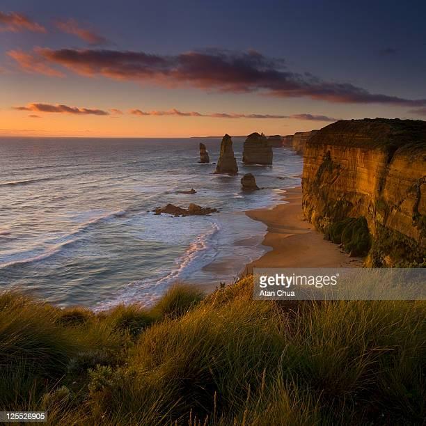 Sunset at twelve apostles in Victoria