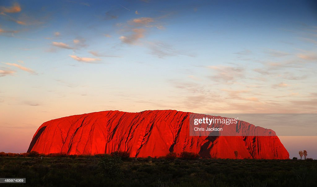 Sunset at Uluru ahead of a visit by Prince William, Duke of Cambridge and Catherine, Duchess of Cambridge on April 21, 2014 in Ayers Rock, Australia. The Duke and Duchess of Cambridge are on a three-week tour of Australia and New Zealand, the first official trip overseas with their son, Prince George of Cambridge.