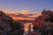 a beautiful sunset at scenic Watson Lake near Prescott Arizona
