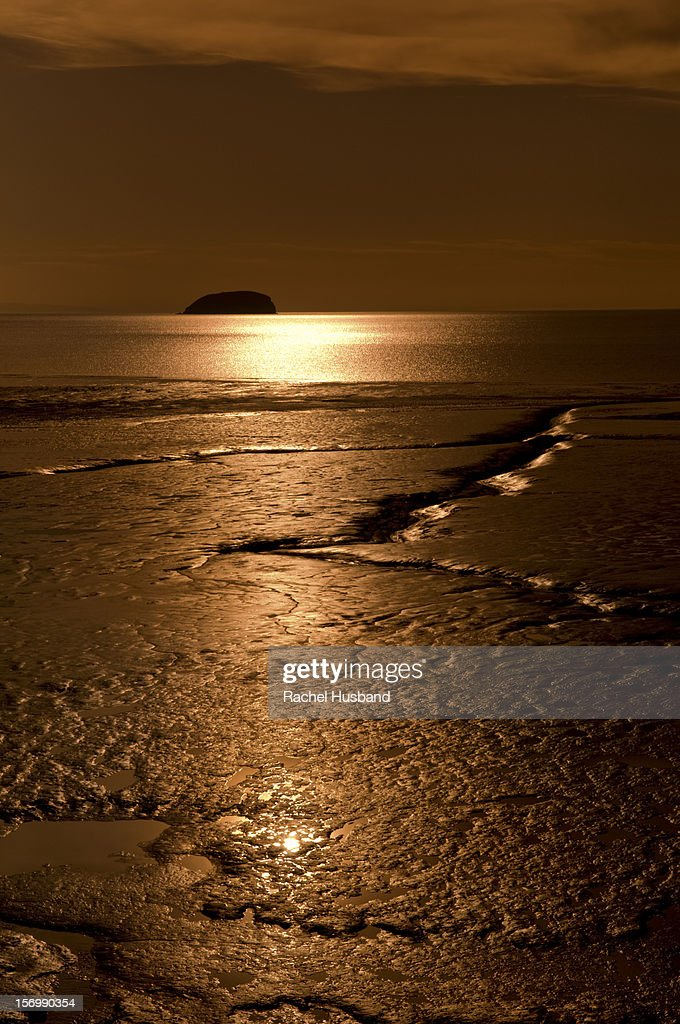 Sunset at Weston Super Mare with Steepholm Island : Stock Photo