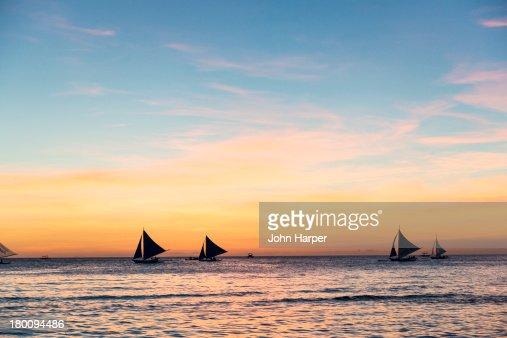 Sunset at White Beach, Boracay, Philippines : Stock Photo