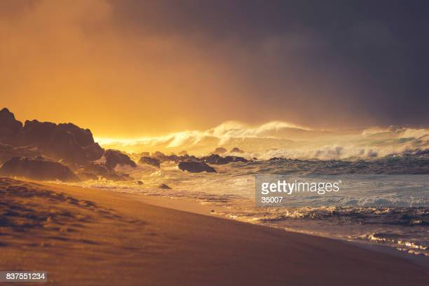sunset beach at storm, maui island, hawaii islands