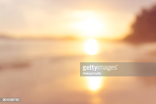 sunset beach blurry background : Stock Photo