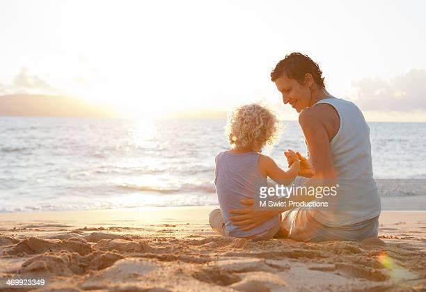 sunset beach together