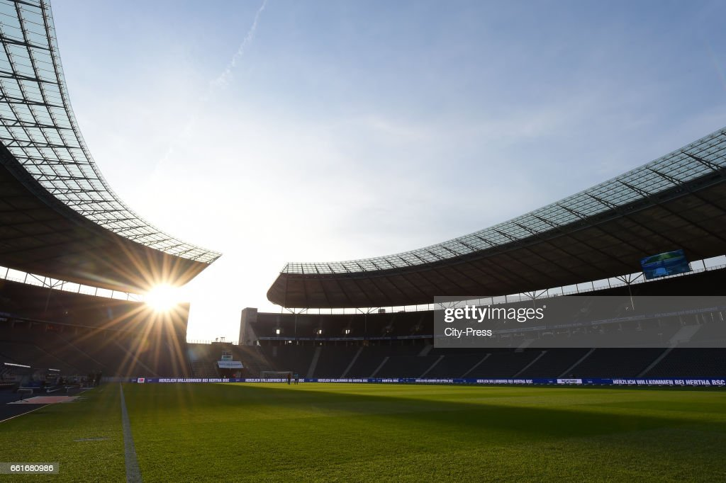 Sunset before the game between Hertha BSC and TSG Hoffenheim on march 31, 2017 in Berlin, Germany.