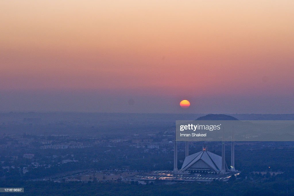Sunset behind Faisal Mosque