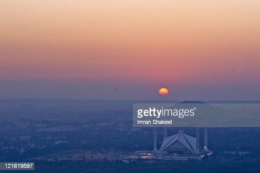 Sunset behind Faisal Mosque