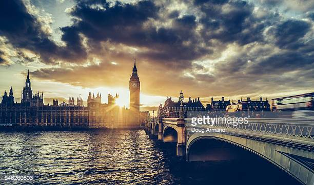 Sunset behinf Big Ben and Westminster Bridge