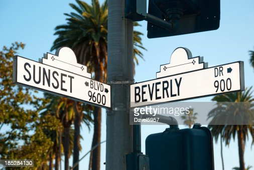 Sunset blvd and Beverly Dr intersection sign