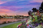 Sunset by the park at Victoria British Columbia Canada Innter Harbour
