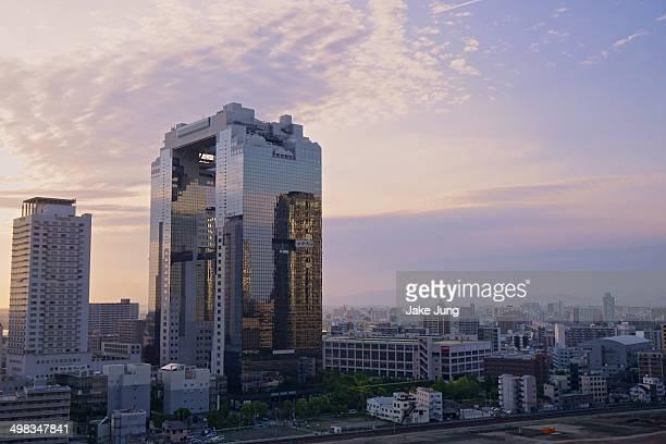 Sunset cityscape of Osaka.
