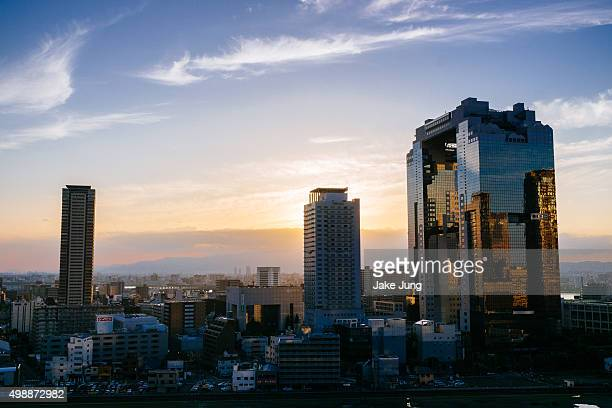 Sunset cityscape of skyscrapers in Osaka's Umeda district