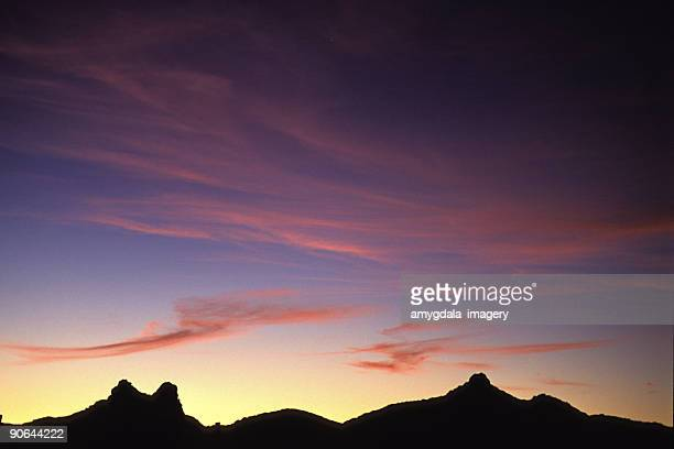 sunset cloud sky and mountain ridge silhouette landscape