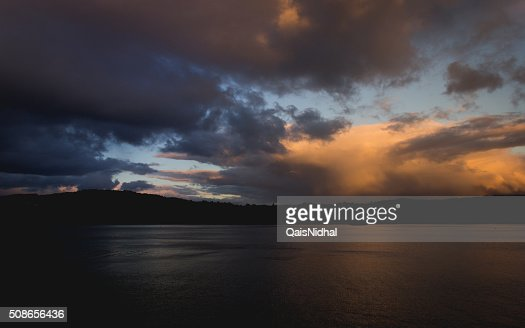 sunset clouds blue and yellow : Stock Photo